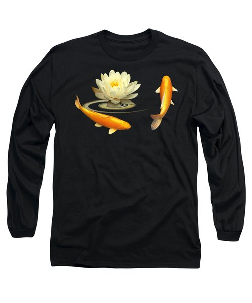 Circle Of Life - Koi Carp With Water Lily Long Sleeve T-Shirt by Gill Billington