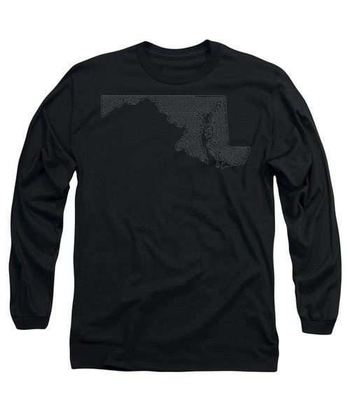 Cities And Towns In Maryland White Long Sleeve T-Shirt by Custom Home Fashions