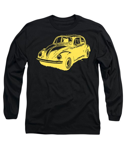 Classic Vw Beetle Tee Yellow Ink Long Sleeve T-Shirt by Edward Fielding