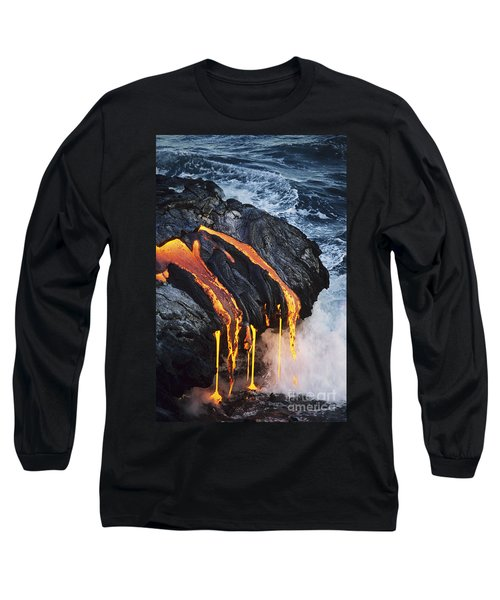 Close-up Lava Long Sleeve T-Shirt by Don King - Printscapes