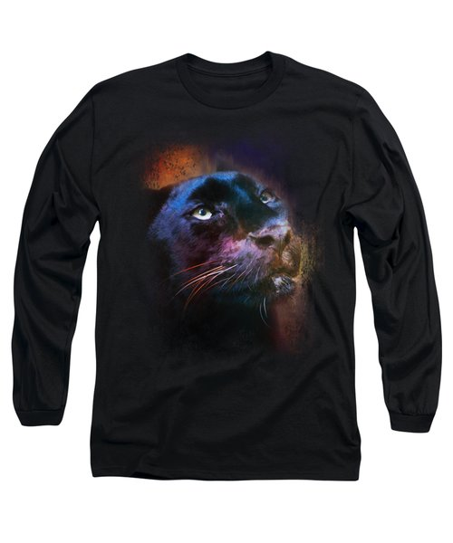 Colorful Expressions Black Leopard Long Sleeve T-Shirt by Jai Johnson