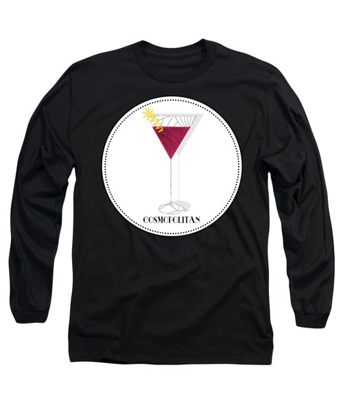 Cosmopolitan Cocktail Pop Art Deco  Long Sleeve T-Shirt by Cecely Bloom