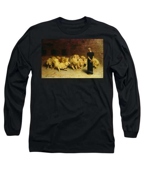 Daniel In The Lions Den Long Sleeve T-Shirt by Briton Riviere