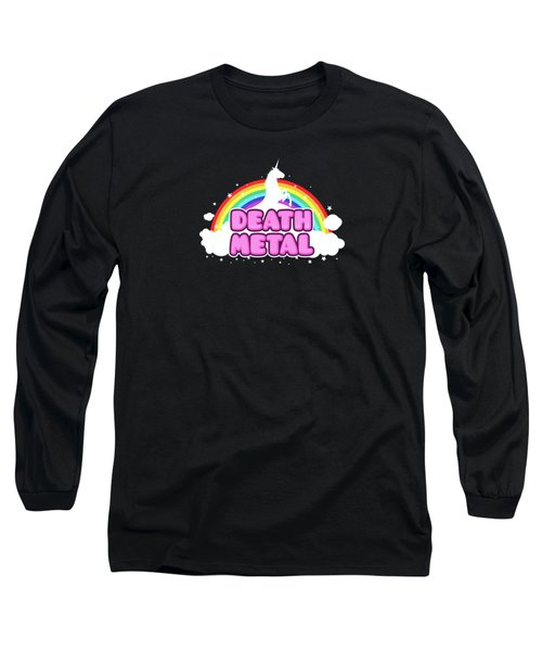 Death Metal Funny Unicorn  Rainbow Mosh Parody Design Long Sleeve T-Shirt by Philipp Rietz