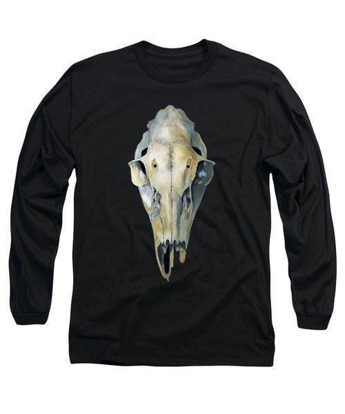 Deer Skull Aura Long Sleeve T-Shirt by Catherine Twomey