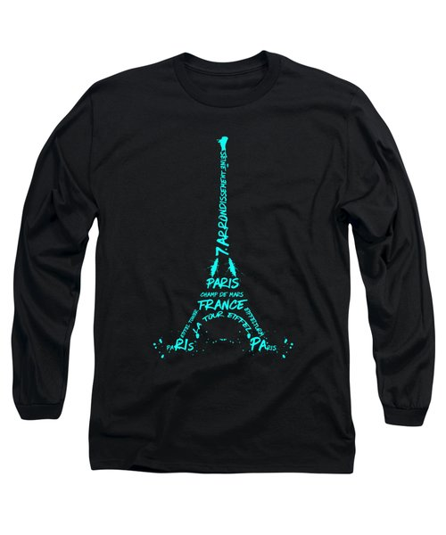 Digital-art Eiffel Tower Cyan Long Sleeve T-Shirt by Melanie Viola