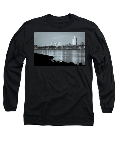 Downtown Tulsa Oklahoma - University Tower View - Black And White Long Sleeve T-Shirt by Gregory Ballos