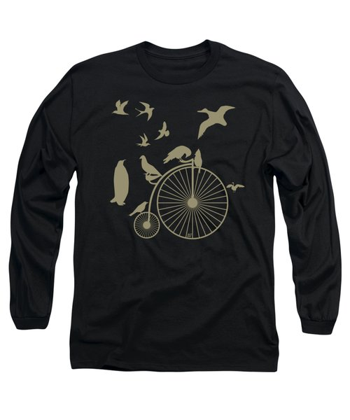Dude The Birds Are Flocking Tan Transparent Background Long Sleeve T-Shirt by Barbara St Jean