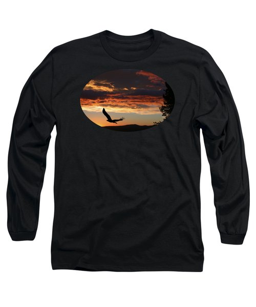 Eagle At Sunset Long Sleeve T-Shirt by Shane Bechler