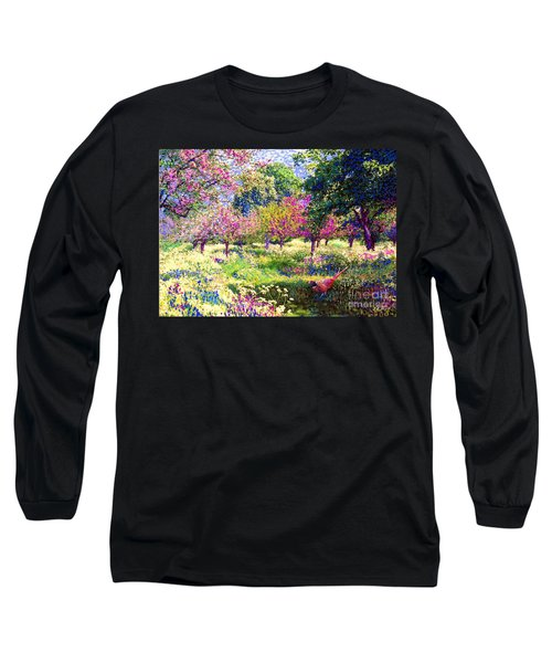 Echoes From Heaven, Spring Orchard Blossom And Pheasant Long Sleeve T-Shirt by Jane Small