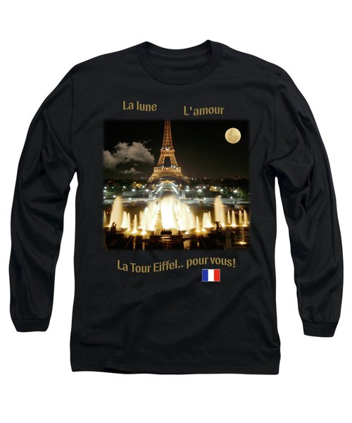 Eiffel Tower At Night Long Sleeve T-Shirt by Jon Delorme