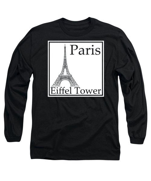 Eiffel Tower In White Long Sleeve T-Shirt by Custom Home Fashions