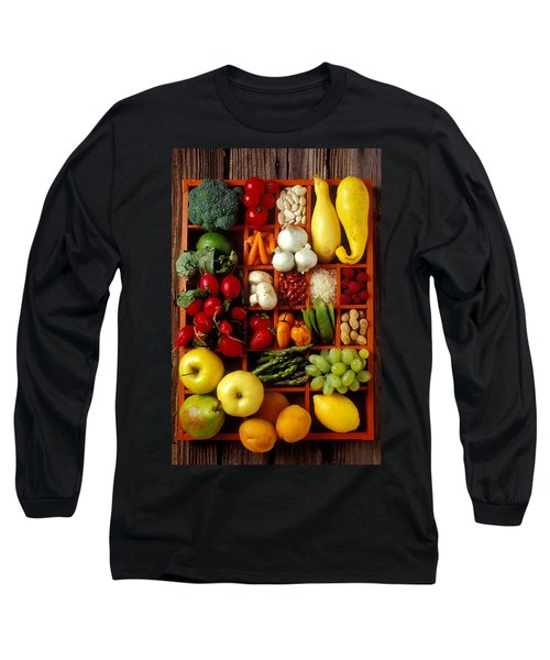 Fruits And Vegetables In Compartments Long Sleeve T-Shirt by Garry Gay