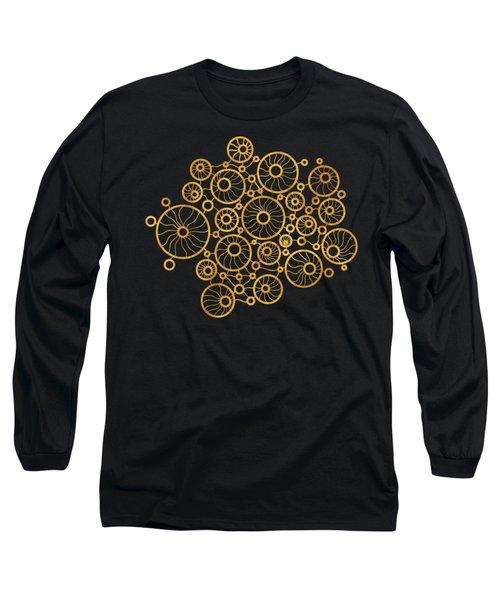 Golden Circles Black Long Sleeve T-Shirt by Frank Tschakert