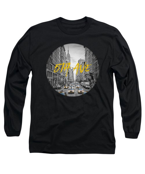 Graphic Art Nyc 5th Avenue Yellow Cabs Long Sleeve T-Shirt by Melanie Viola