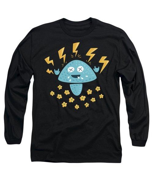 Heavy Metal Mushroom Long Sleeve T-Shirt by Boriana Giormova