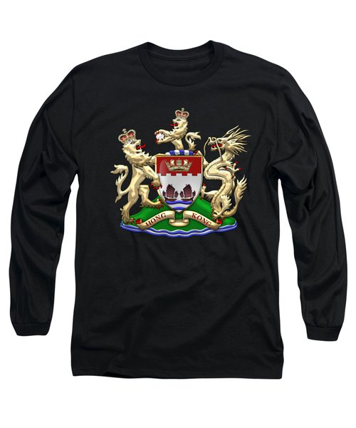 Hong Kong - 1959-1997 Coat Of Arms Over Black Leather  Long Sleeve T-Shirt by Serge Averbukh