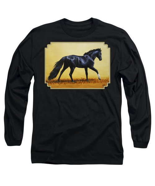Horse Painting - Black Beauty Long Sleeve T-Shirt by Crista Forest