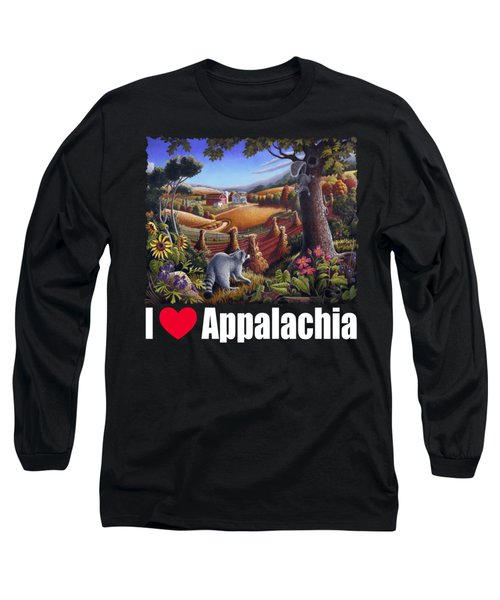I Love Appalachia T Shirt - Coon Gap Holler 2 - Country Farm Landscape Long Sleeve T-Shirt by Walt Curlee