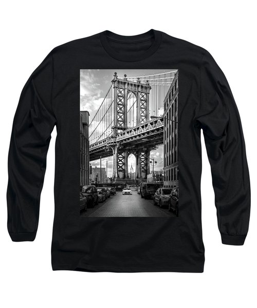 Iconic Manhattan Bw Long Sleeve T-Shirt by Az Jackson
