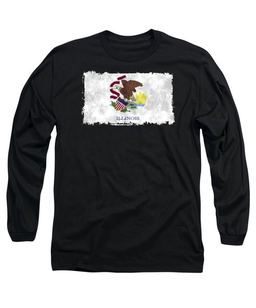Illinois Flag Long Sleeve T-Shirt by World Art Prints And Designs