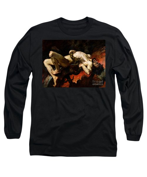 Ixion Thrown Into Hades Long Sleeve T-Shirt by Jules Elie Delaunay