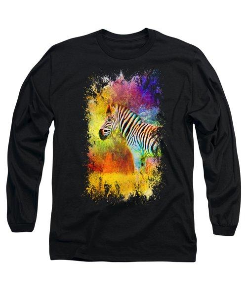 Jazzy Zebra Colorful Animal Art By Jai Johnson Long Sleeve T-Shirt by Jai Johnson