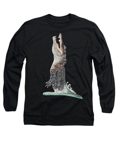 Jumping Gator Long Sleeve T-Shirt by Jennifer Rogers