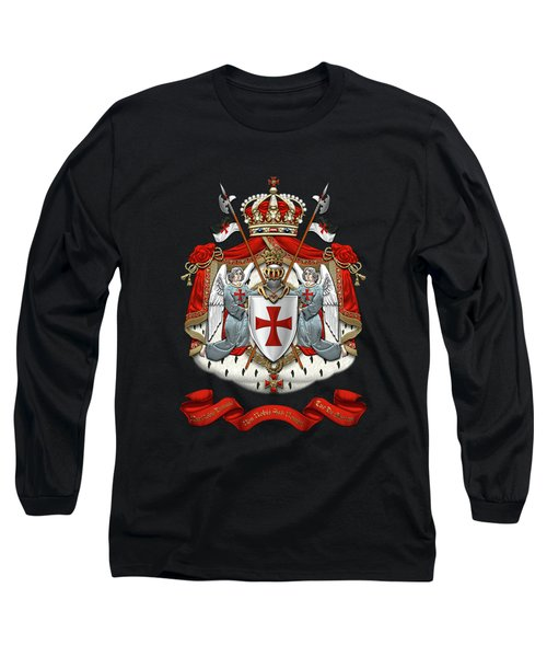 Knights Templar - Coat Of Arms Over Black Velvet Long Sleeve T-Shirt by Serge Averbukh