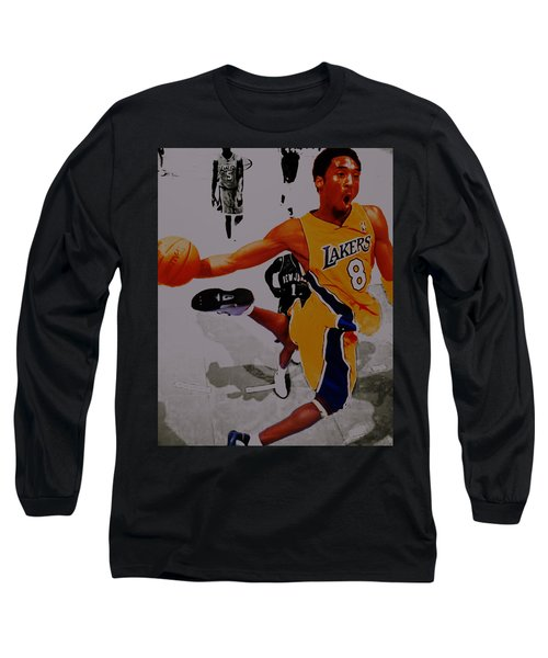 Kobe Bryant Taking Flight 3a Long Sleeve T-Shirt by Brian Reaves