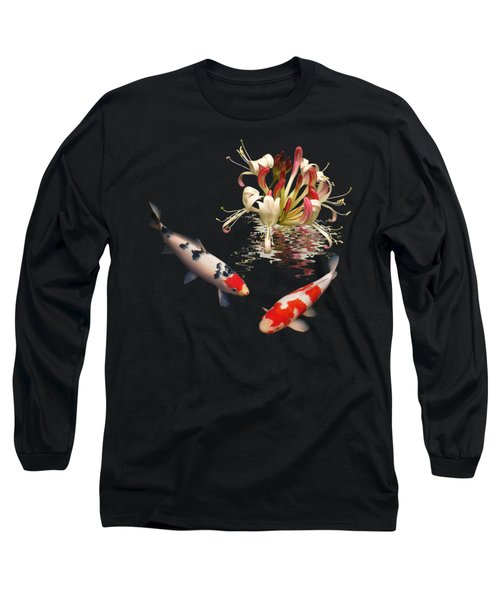 Koi With Honeysuckle Reflections Square Long Sleeve T-Shirt by Gill Billington