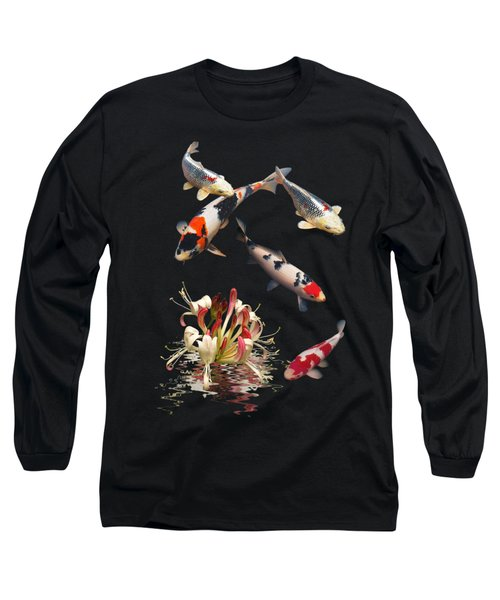 Koi With Honeysuckle Reflections Vertical Long Sleeve T-Shirt by Gill Billington