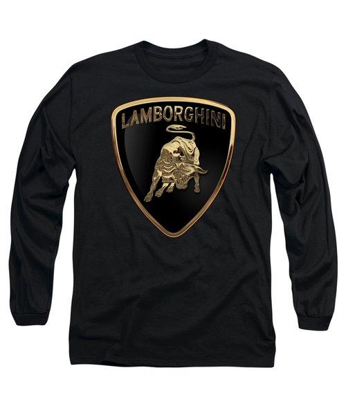Lamborghini - 3d Badge On Black Long Sleeve T-Shirt by Serge Averbukh