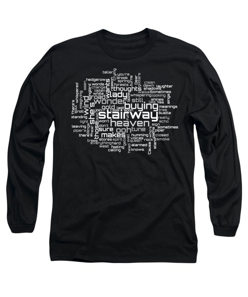 Led Zeppelin - Stairway To Heaven Lyrical Cloud Long Sleeve T-Shirt by Susan Maxwell Schmidt