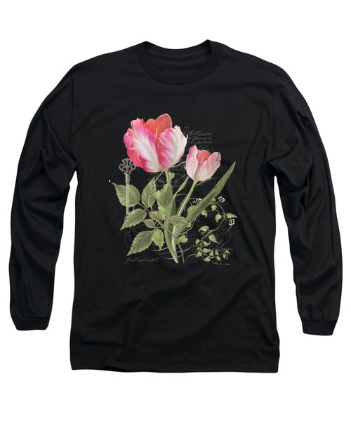 Les Fleurs Magnifiques En Noir - Parrot Tulips Vintage Style Long Sleeve T-Shirt by Audrey Jeanne Roberts