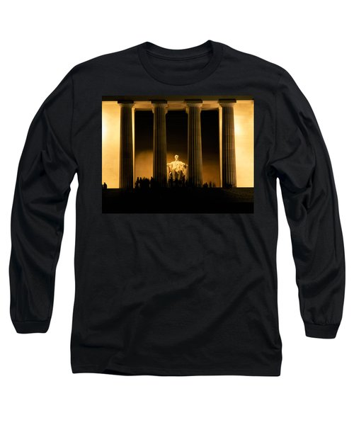 Lincoln Memorial Illuminated At Night Long Sleeve T-Shirt by Panoramic Images