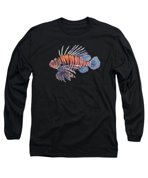 Lionfish In Black Long Sleeve T-Shirt by Hailey E Herrera
