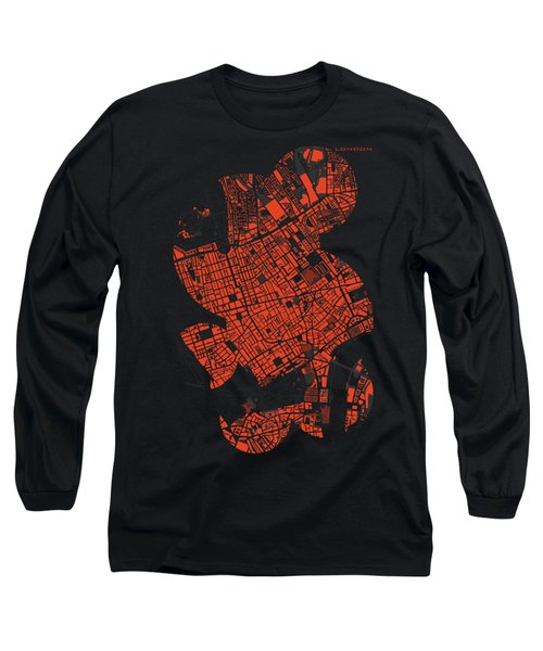 London Engraving Map Long Sleeve T-Shirt by Jasone Ayerbe- Javier R Recco