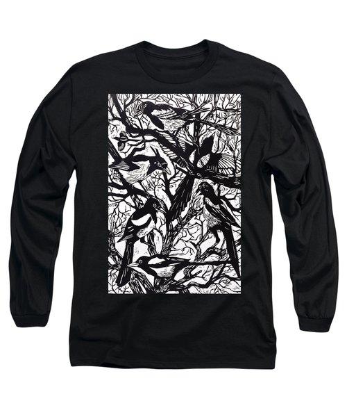 Magpies Long Sleeve T-Shirt by Nat Morley