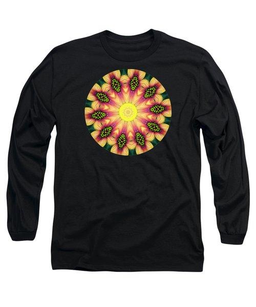 Mandala Yellow Burst Long Sleeve T-Shirt by Hao Aiken