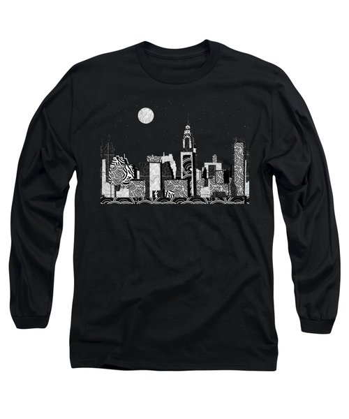 Manhattan At Night New York Swings Long Sleeve T-Shirt by Cecely Bloom
