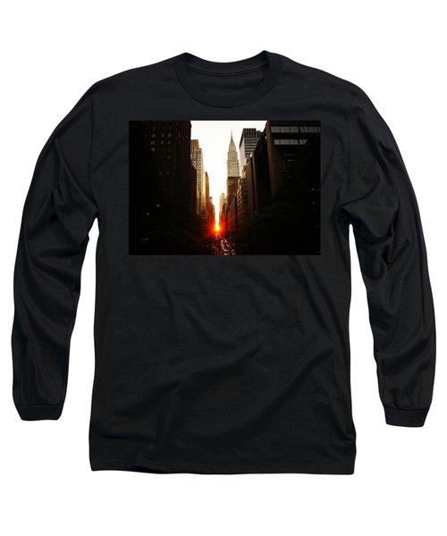 Manhattanhenge Sunset Over The Heart Of New York City Long Sleeve T-Shirt by Vivienne Gucwa