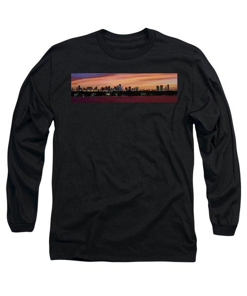 Miami Sunset Panorama Long Sleeve T-Shirt by Gary Dean Mercer Clark