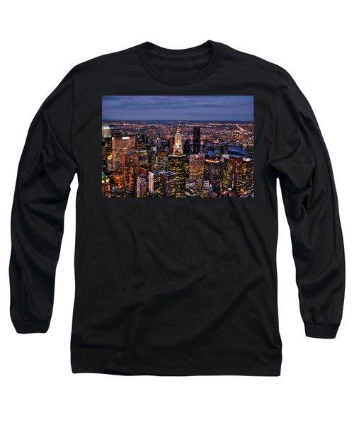 Midtown Skyline At Dusk Long Sleeve T-Shirt by Randy Aveille