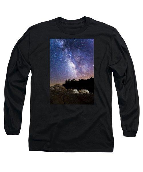 Milky Way Over A Western Diamondback Rattlesnake Long Sleeve T-Shirt by Chuck Brown
