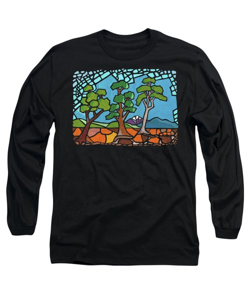 Mosaic Trees Long Sleeve T-Shirt by Anthony Mwangi