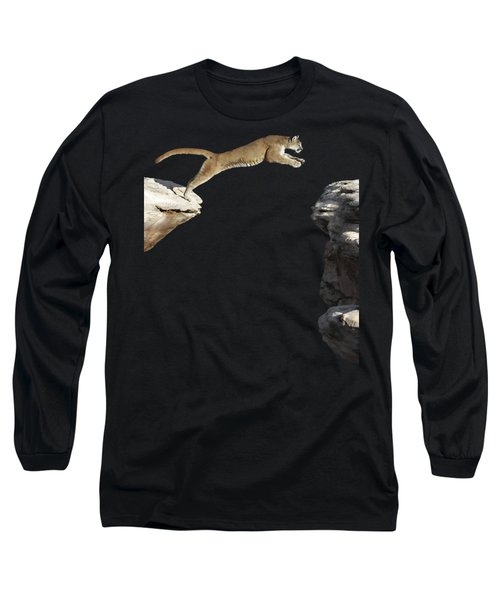 Mountain Lion Leaping Long Sleeve T-Shirt by Wildlife Fine Art