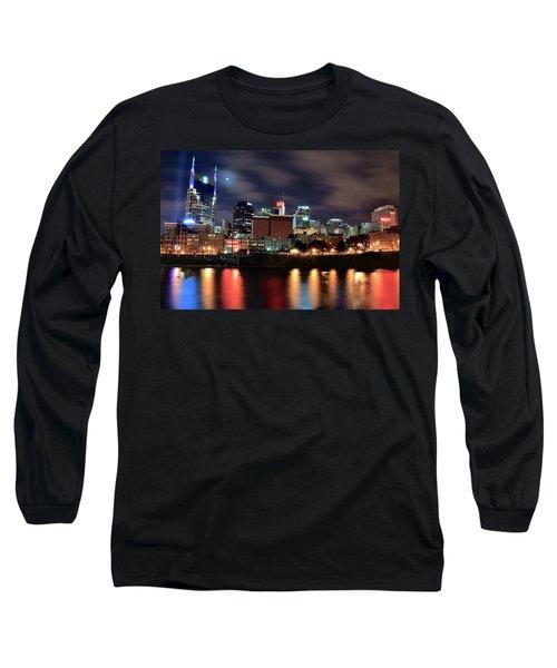 Nashville Skyline Long Sleeve T-Shirt by Frozen in Time Fine Art Photography