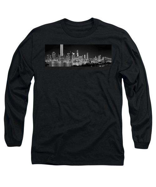 New York City Bw Tribute In Lights And Lower Manhattan At Night Black And White Nyc Long Sleeve T-Shirt by Jon Holiday