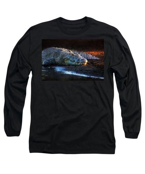 Nile Crocodile On Riverbank-1 Long Sleeve T-Shirt by Johan Swanepoel